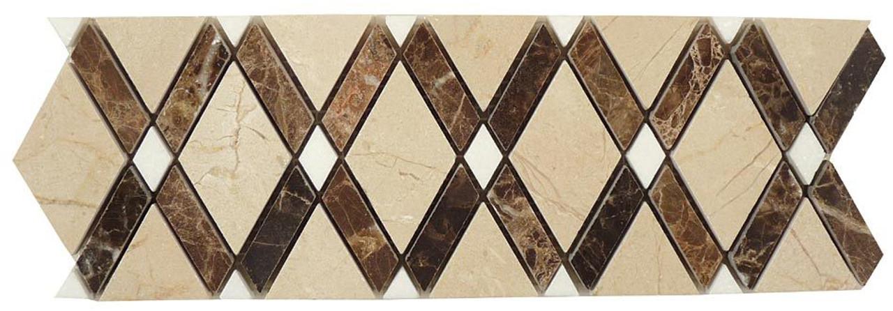 Bella Glass Tiles Diamond Series Marble Tile Listello Crema Marfil Emperador Dark Thassos White