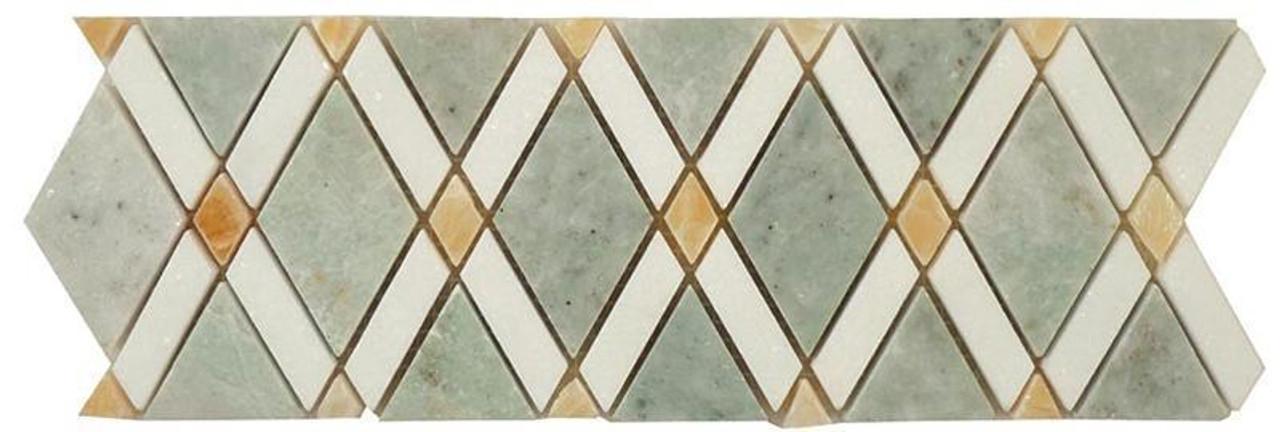 Bella Glass Tiles Diamond Series Marble Tile Listello Ming Green Thassos White Honey Onyx