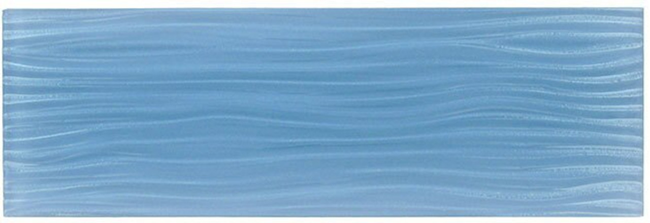 Bella Glass Tiles Crystile Wave Glass Subway 4 x 12 Blue Sea Foam