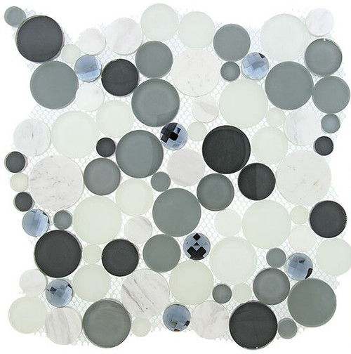 Bella Glass Tiles Symphony Bubble Series Grey Fizz