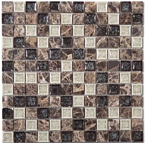 Bella Glass Tiles Tranquil Series 1 x 1 Chocolate Blend