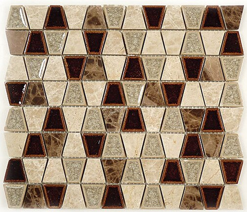 Bella Glass Tiles Tranquil Series Trapezoid Quiet Mahogany