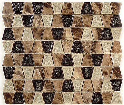Bella Glass Tiles Tranquil Series Trapezoid Rocky Road