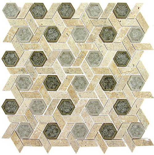 Bella Glass Tiles Tranquil Series Hexagon Olympus Shade