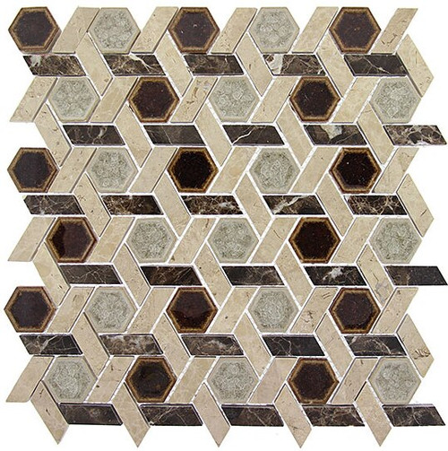 Bella Glass Tiles Tranquil Series Hexagon Temple Inspiration