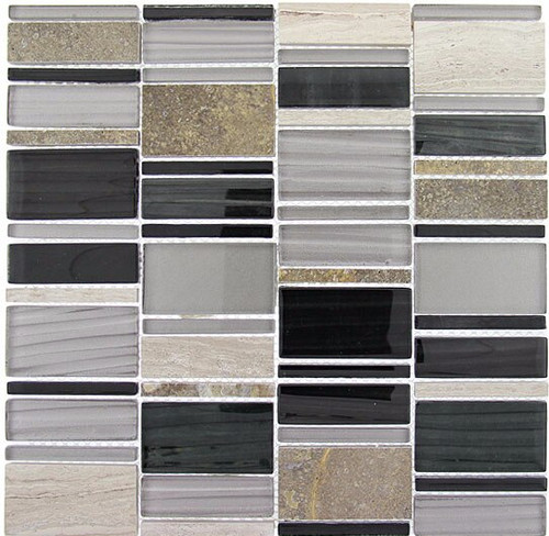 Bella Glass Tiles Corrugated Scapes Series Ebony Cliff