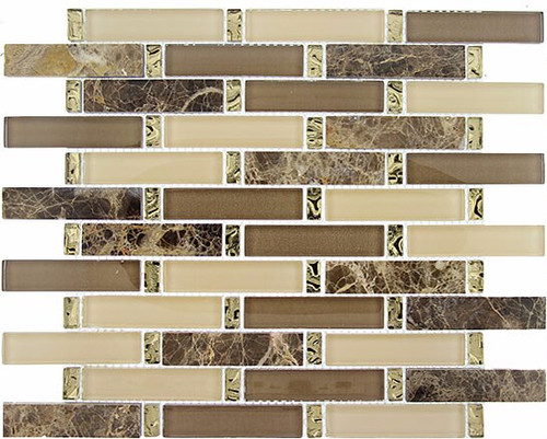 Bella Glass Tiles Interlace Series Crunched Walnut