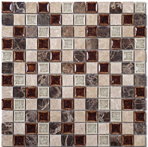 Bella Glass Tiles Tranquil Series 1 x 1 Coffee and Cream