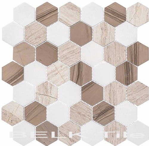 Bella Glass Tiles Colonial 2 Inch Hex Bay Colony