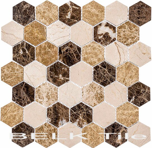 Bella Glass Tiles Colonial 2 Inch Hex Rock Haven