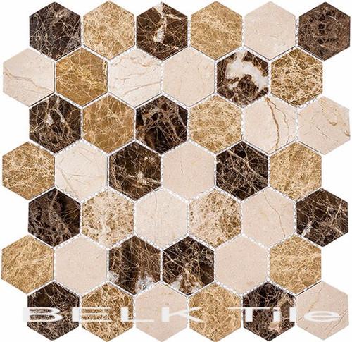 Bella Glass Tiles Colonial 2 Inch Hex Rock Haven