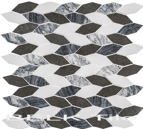 Bella Glass Tiles Colonial Series Long Hex Presidential Grey