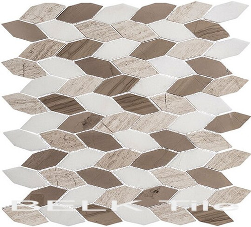 Bella Glass Tiles Colonial Series Long Hex Bay Colony CLNL-281