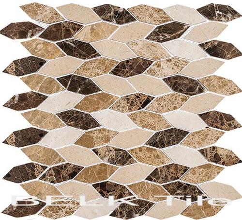 Bella Glass Tiles Colonial Series Long Hex Rock Haven CLNL-283