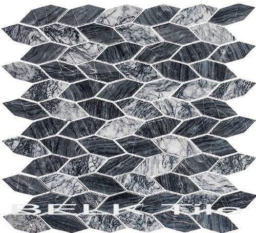 Bella Glass Tiles Colonial Series Long Hex Salem Charcoal