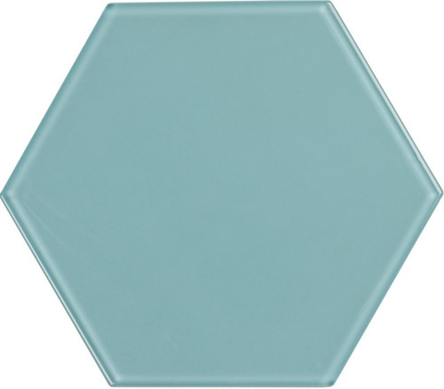 UBC 8 inch Glass Hexagon Tile Sky Blue