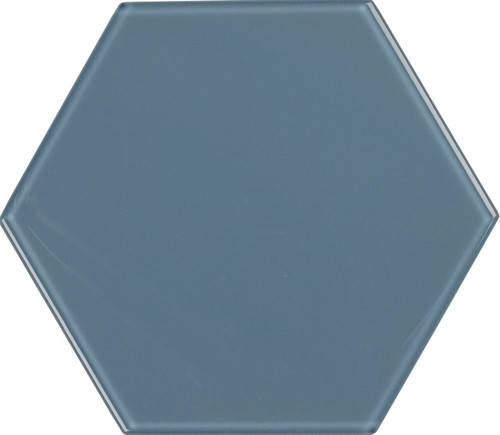 UBC 8 inch Glass Hexagon Tile Downpour
