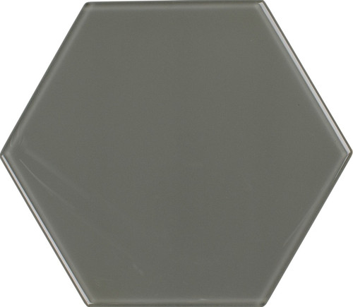 UBC 8 inch Glass Hexagon Tile Hailstorm