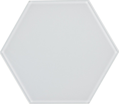 UBC 8 inch Glass Hexagon Tile White