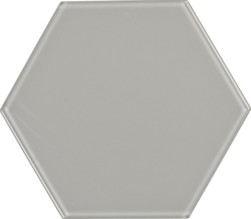 UBC 8 inch Glass Hexagon Tile Whisper Gray