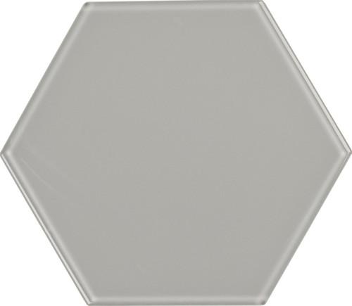 UBC 8 inch Glass Hexagon Tile Whisper Gray