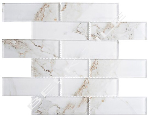 Bella Glass Tiles Michelangelo Basilica Lorenzo 2 x 6 Glass Subway Tile