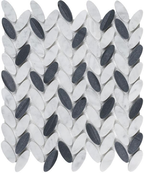 UBC Elyptic Herringbone Tile Black n White