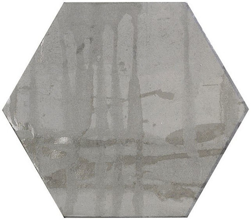 Bella Glass Tiles Princeton Glaze Hexagon Victorian Pewter