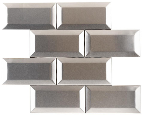 UBC Stainless Steel Tile Backsplash 3 x 6 Bevel Subway Tile