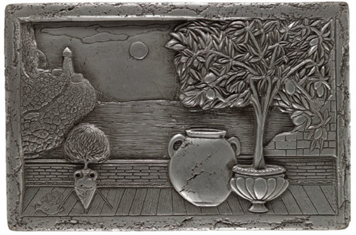 My Tile Backsplash Silver Italian Scene Plaque