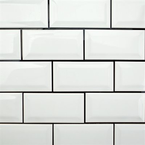 BELK Tile 3 x 6 White Beveled Ceramic Subway