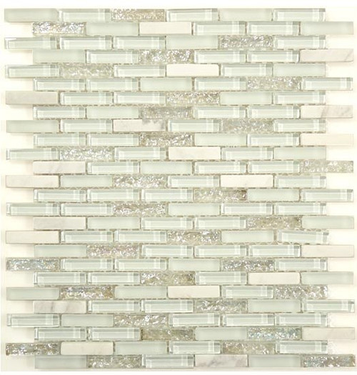 Bella Glass Tiles Bella Glass Tiles Jewel Series J-603 White Diamond