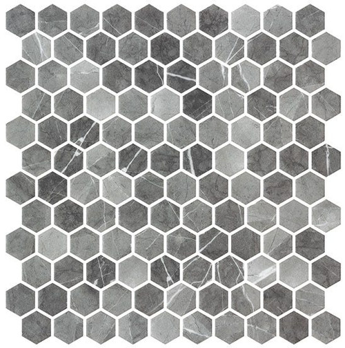 Bella Glass Tiles Karma Ridge Hexagon Mosaic Ashley Rock KR1401