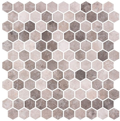 Bella Glass Tiles Karma Ridge Hexagon Mosaic Soothing Intent KR1403