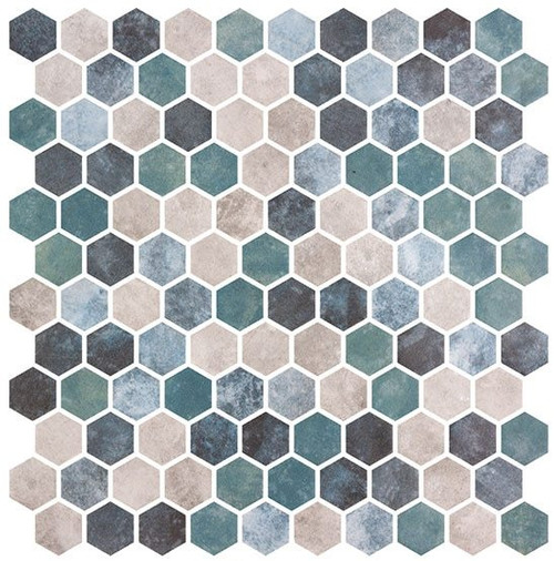 Bella Glass Tiles Karma Ridge Hexagon Mosaic Lotus Pond KR1405