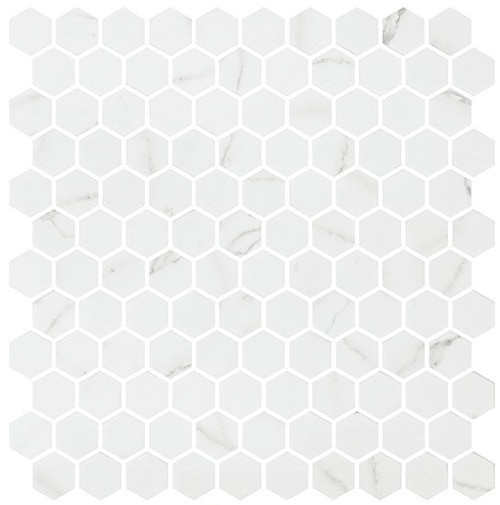 Bella Glass Tiles Karma Ridge Hexagon Mosaic Endless Calm KR1406