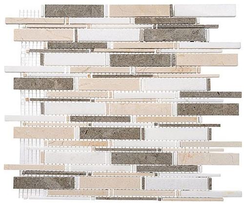 Bella Glass Tiles Cascade Series Lagos AzulCreama MarfilThassos White CS92