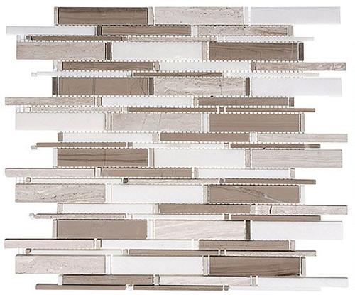 Bella Glass Tiles Cascade Series Wooden white Athen Gray Thassos mix CS94