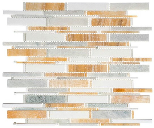 Bella Glass Tiles Cascade Series Honey onyx Ming green Thassos white CS95