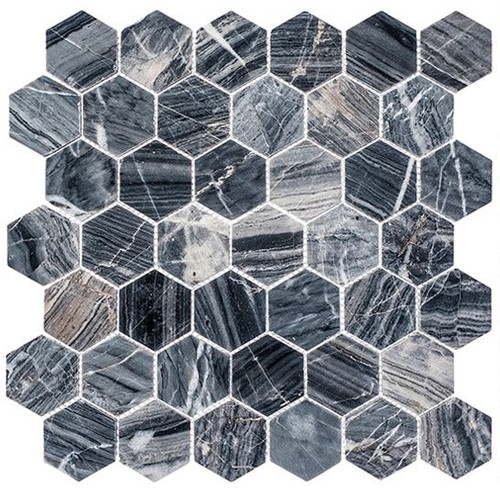 Bella Glass Tiles Colonial 2 Inch Hex Salem Charcoal CLNL277