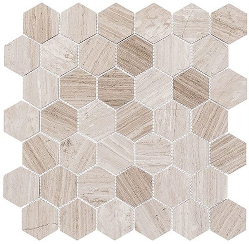 Bella Glass Tiles Colonial 2 Inch Hex Virginia Dunes CLNL278