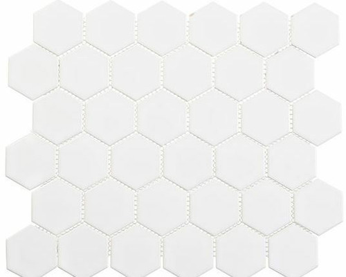 Bella Glass Tiles Freedom Avenue 2 inch Hexagon Liberty Pure Matte FDM1825