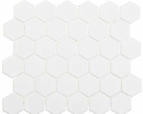 Bella Glass Tiles Freedom Avenue 2 inch Hexagon Liberty Pure Matte FDM1825