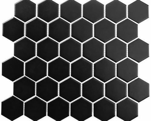 Bella Glass Tiles Freedom Avenue 2 inch Hexagon Pitch Raven Matte FDM1826