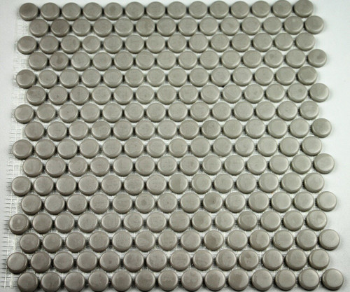 Bella Glass Tiles Hearth Palace Penny Round Shiny Gray HP1PRSG