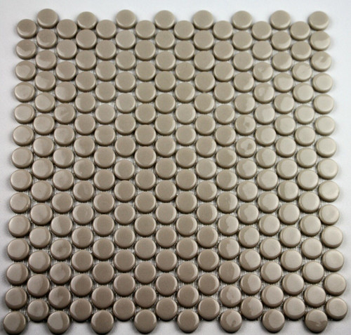 Bella Glass Tiles Hearth Palace Penny Round Shiny Taupe HP1PRST