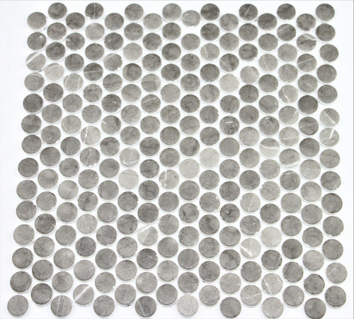 Bella Glass Tiles Hearth Palace Penny Round Matte Grafito HP1PRMG