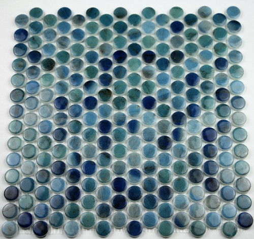 Bella Glass Tiles Hearth Palace Penny Round Forest Blue HP1PRFB