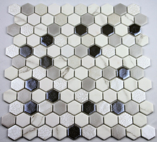 Bella Glass Tiles Hearth Palace Hexagon Blend Fossil HP1HBF