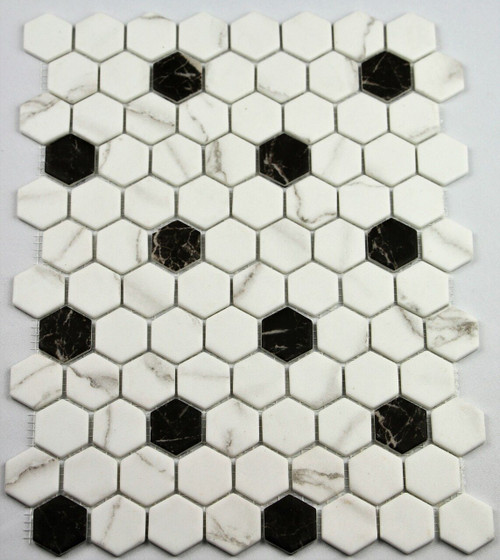 Bella Glass Tiles Hearth Palace Hexagon Black and White HP1HBP1